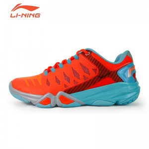 Li-Ning Multi Accelerate 3.0 Men's Cushion Badminton Professional Shoes - Orange/Water Blue/Grey