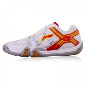 Li-Ning Men's Saga Light TD Badminton Training Shoes - White/Tomato Red/Yellow