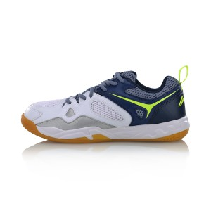 Li-Ning 2017 Men's Light Badminton Training Shoes - White/Blue [AYTM025-3]