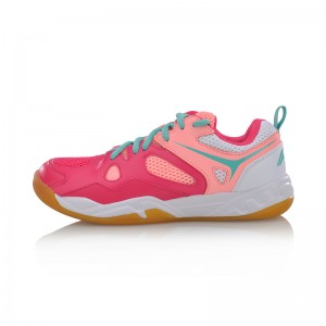 Li Ning 2017 Women's Light Badminton Training Shoes - Red/Pink/White [AYTM038-1]
