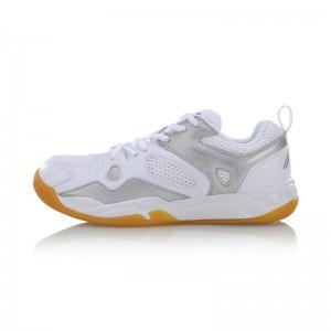 Li Ning 2017 Women's Light Badminton Training Shoes - White/Silver Grey [AYTM038-3]
